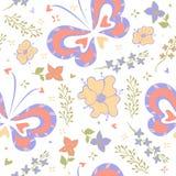 Patroonvlinders en bloemen Royalty-vrije Stock Foto