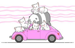 Patroszeni kawaii koty, panda z samochodem i royalty ilustracja
