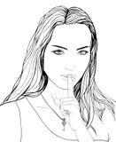 Patroszona portret młoda kobieta, palec na wargach, klucz, tajna dziewczyna Obraz Stock