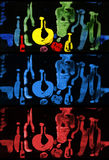 Patroszone textural barwione butelki Obrazy Stock