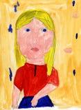 patroszonej dziewczyny ręki ilustracyjny portret s obrazy stock