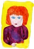 patroszonej ręki ilustracyjna portreta s kobieta obraz stock