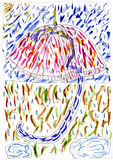 patroszonej ręki ilustracyjny stubarwny parasol Obraz Stock