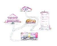 Patroszony diagram ścieżka przez miasta z domem, teatrem, sklepem i parkiem, ilustracja, odizolowywająca na białym tle ilustracji