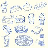 patroszony fasta food ręki ikony set Zdjęcia Royalty Free