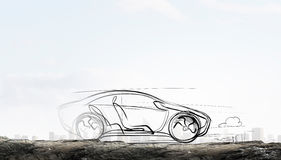 Patroszony samochodu model Mieszani środki Obrazy Stock