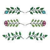 patroszonych elementów kwiecista ręka Set kwiaty i dekoracyjni elementy Ilustracji