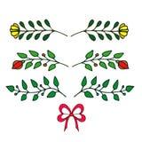 patroszonych elementów kwiecista ręka Set kwiaty i dekoracyjni elementy Ilustracja Wektor