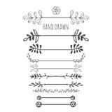 patroszonych elementów kwiecista ręka Inkasowa ręka rysująca granica z atramentu doodle dekoracją styl retro Bobki, liście, strza Fotografia Stock