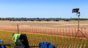 Patrouile de France Demonstration Team. The Patrouile de France Demonstration Team  parked just before Maxwell Air Force Base Air Show 2017 Royalty Free Stock Image
