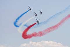 Patrouille de France. Formation flight from Patrouille de France stock photo