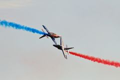 Patrouille de France. Acrobatic team Patrouille de France during International Airshow in Radom (Poland). Photo taken on: August 28, 2011 Stock Images