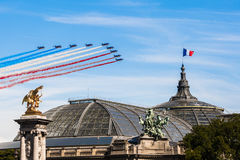 Patrouille de France in the sky of Paris for the Bastille Day 2017. Patrouille de France dans le ciel de Paris, au dessus du Grand Palais, pour le 14 Juillet Stock Image