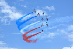 Patrouille de France with smoke Royalty Free Stock Photos