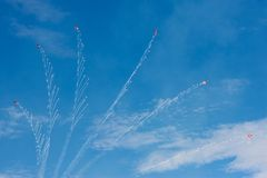 Free Patrouille Suisse Formation Display Team Of The Swiss Air Force Breaking Formation While Firing Flares From Their Northrop F-5E Fi Royalty Free Stock Images - 141149309