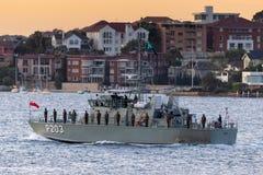 Patrouillenboot VOEA Savea P203 der tongaischen Verteidigungs-Services in Sydney Harbor stockfotografie