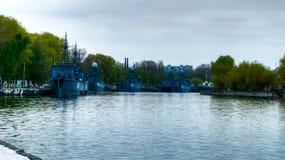 Patrouilleschepen in Baltiysk royalty-vrije stock foto's