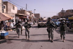Patrulha desmontada da polícia militar Imagens de Stock Royalty Free