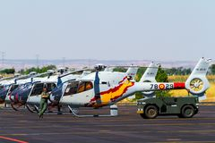 Patrulla Aspa on the Los Llanos Airbase. ALBACETE, SPAIN-JUN 23: Helicopters of the Patrulla Aspa taking part in a static  exhibition on the open day of the Royalty Free Stock Photography