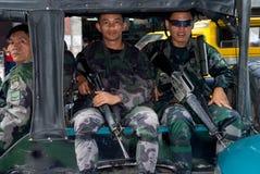 Patrulla militar de la ciudad de Mindanao Foto de archivo libre de regalías