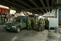Patrulla tailandesa del ejército en el cuadrado de Tailandia foto de archivo libre de regalías