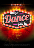 Patry Dance retro display board with lights. Vector Background for flyer or poster Royalty Free Stock Photos