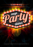 Patry Dance retro display board with lights. Vector Background for flyer or poster Stock Photo