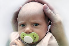 Patrycja with baby soother Stock Images