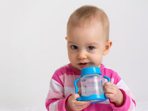 Patrycja with a bottle 2 Royalty Free Stock Image