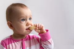 Patrycja with crunchy corn snack. Adorable baby girl eating a crunchy corn snack Royalty Free Stock Images
