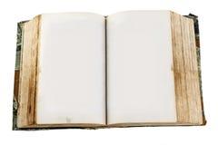 Patrzeć w dół przy starą otwartą książką z pustymi stronami Zdjęcia Stock