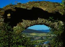 Patrzeć przez kamiennego okno na Rhine Zdjęcie Royalty Free