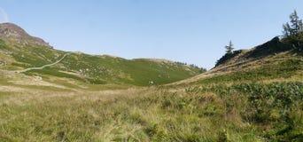 Patrzejący nad trawiastym col terenem grań naprzód, panoramiczny fotografia royalty free