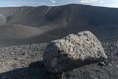 Patrzejący w Hverfjall rożek blisko Myvatn, Iceland obrazy stock
