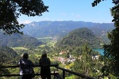 Patrzejący od Straza w kierunku południowej końcówki jezioro Krwawił, Slovenia Zdjęcie Stock