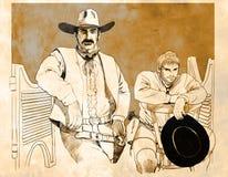 Patt Garrett e Billy o miúdo ilustração stock