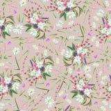 Patt senza cuciture del fiore disegnato a mano d'annata dell'acquerello royalty illustrazione gratis