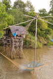 Pattalung 8 Apr :: fisherman use giant netting trap fish at Pakp Royalty Free Stock Images