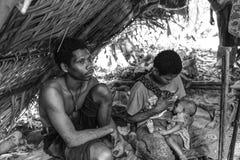 PATTALUNG, THAILAND - BRENG 28, 2015 IN DE WAR: Negrito van Thailand T Royalty-vrije Stock Afbeelding
