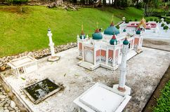 Pattani central mosque at miniature park is an open space that displays miniature buildings and models. PATTAYA CITY, CHONBURI PROVINCE, THAILAND. – On royalty free stock photos