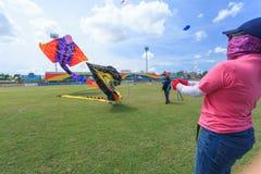 Pattani - 9. März - viele Fantasiedrachen im internationalen Drachen Stockbilder