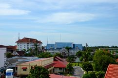 Skyline and buildings of Pattani city Thailand. Pattani, Thailand - May 7, 2017: The skyline of Pattani city in southern Thailand. The photo was taken from an stock photo
