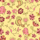Pattarn van Grappige Gekleurde Vogel en Roze Bloemen op een Geel Royalty-vrije Stock Afbeeldingen