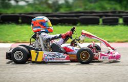 PATTATA, THAILAND-MAY 20 :是赛跑的Kart驾驶训练和  免版税图库摄影
