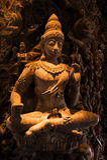 pattaya圣所雕塑木thaila的真相 免版税库存图片