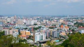 pattaya泰国 从大厦都市风景的上面和摩天大楼的看法自白天 免版税库存照片