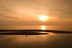 Εναέρια άποψη, όμορφο ηλιοβασίλεμα σε Pattaya στοκ εικόνα