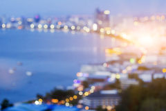 Pattaya bay. The blurred night city background in pattaya city of thailand Royalty Free Stock Image