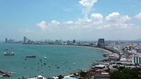 Pattaya bay, Thailand. 4K (4096x2304) Timelapse: Panorama view of seascape at Pattaya bay (Gulf of Siam), Chonburi province, Thailand stock footage