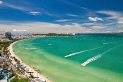 Pattaya beach and city bird eye view royalty free stock photography